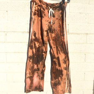 Distressed Black Cotton Light Sweatpants Tie Dye